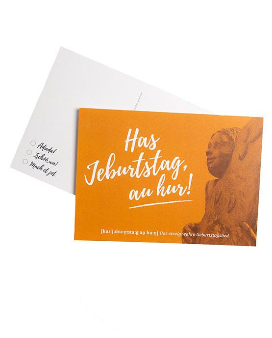 Postkarte Jeburtstag orange Öcher Wörter
