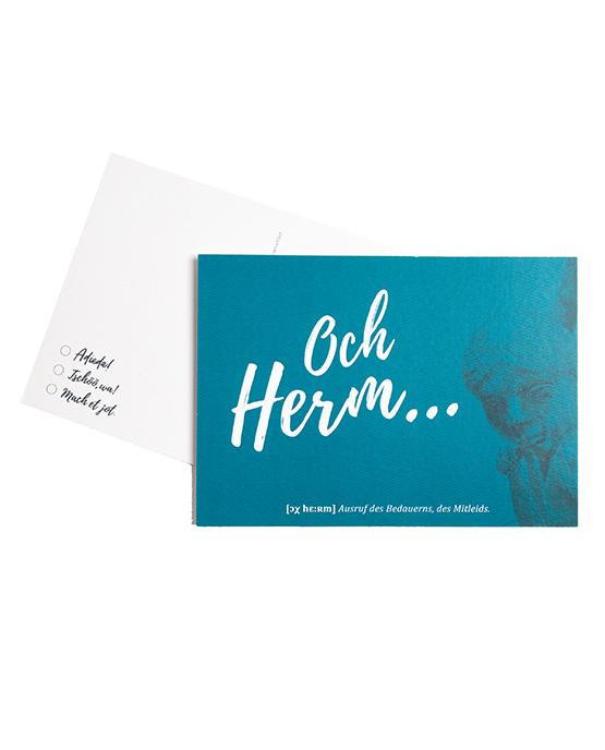 Postkarte Och Herm blau Öcher Wörter